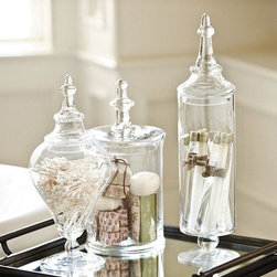Glass Apothecary Jar - Use apothecary jars to set up a faux science experiment area for display or as a creepy-crawly candy bar at your Halloween party.
