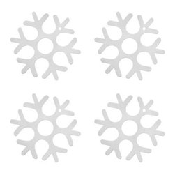 The Felt Store - Felt Snowflake Ornaments (4Pc) - Small - The Felt Store's decorative Snowflakes are the perfect holiday ornament. Hang on your Christmas tree, window frames or scatter across your kitchen and living room table to create some holiday cheer. Our medium sized Decorative Snowflakes also function as felt coasters, making them a perfect holiday gift. Made from 3mm, 100% Merino Wool and available in three different sizes: Large- 6.25 inch, Medium- 4 inch, and Small- 2.25 inch.
