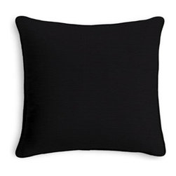Black Cotton Custom Throw Pillow - Black and white photos, Louis XIV chairs, crown molding: classic is always classy. So it is with this long-time decorator�۪s favorite: the Corded Throw Pillow. We love it in this black classic cotton duck for a simple solid compliment.