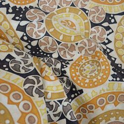 Richloom - Kenzo Champagne Modern Suzani Drapery Fabric By The Yard - Kenzo in the color way Champaign is a gold, grey and black suzani fabric from Richloom. Great suzani fabric for draperies, pillow, bedding or light upholstery