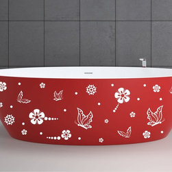 StickONmania - Bathtub Design Decal #14 - These decals come with two of each element mirrored, you choose how to place them.A vinyl decal sticker that lets you choose how to decorate. Decorate your home with original vinyl decals made to order in our shop located in the USA. We only use the best equipment and materials to guarantee the everlasting quality of each vinyl sticker. Our original wall art design stickers are easy to apply on most flat surfaces, including slightly textured walls, windows, mirrors, or any smooth surface. Some wall decals may come in multiple pieces due to the size of the design, different sizes of most of our vinyl stickers are available, please message us for a quote. Interior wall decor stickers come with a MATTE finish that is easier to remove from painted surfaces but Exterior stickers for cars,  bathrooms and refrigerators come with a stickier GLOSSY finish that can also be used for exterior purposes. We DO NOT recommend using glossy finish stickers on walls. All of our Vinyl wall decals are removable but not re-positionable, simply peel and stick, no glue or chemicals needed. Our decals always come with instructions and if you order from Houzz we will always add a small thank you gift.