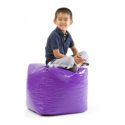 Great Deal Furniture - Jamie Vinyl Square Kids Bean Bag, Purple - The Jamie bean bag provides you or your child a comfortable seat in any room. The puncture-proof vinyl cover is durable for any child with a combination of long-lasting polystyrene beans. Perfect for the bedroom, home theater rooms, family and game rooms.