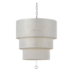 "AF Lighting - AF Lighting 8444-5H Candice Olson ""Over The Top"" Pendant with Cream Poly Cotton - AF Lighting 8444-5H Candice Olson ""Over The Top"" Pendant with Cream Poly Cotton Shade, Finished in ChromeAF Lighting 8444-5H Features:"