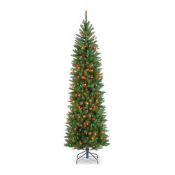 National Tree Company - 7.5-foot Kingswood Fir Hinged Pencil Tree with 350 Multi Lights - Decking the halls is easy with this Christmas tree. Featuring hinged branches with over 1,000 branch tips that are prelit with 350 dazzling multicolored lights,this pencil tree assembles in a fraction of the time so you can enjoy the holidays more.
