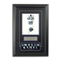 "Heritage Sports Art - Original art of the NFL 1967 Dallas Cowboys uniform - This beautifully framed piece features an original piece of watercolor artwork glass-framed in an attractive two inch wide black resin frame with a double mat. The outer dimensions of the framed piece are approximately 17"" wide x 24.5"" high, although the exact size will vary according to the size of the original piece of art. At the core of the framed piece is the actual piece of original artwork as painted by the artist on textured 100% rag, water-marked watercolor paper. In many cases the original artwork has handwritten notes in pencil from the artist. Simply put, this is beautiful, one-of-a-kind artwork. The outer mat is a rich textured black acid-free mat with a decorative inset white v-groove, while the inner mat is a complimentary colored acid-free mat reflecting one of the team's primary colors. The image of this framed piece shows the mat color that we use (Medium Blue). Beneath the artwork is a silver plate with black text describing the original artwork. The text for this piece will read: This original, one-of-a-kind watercolor painting of the 1967 Dallas Cowboys uniform is the original artwork that was used in the creation of this Dallas Cowboys uniform evolution print and tens of thousands of other Dallas Cowboys products that have been sold across North America. This original piece of art was painted by artist Tino Paolini for Maple Leaf Productions Ltd. Beneath the silver plate is a 3"" x 9"" reproduction of a well known, best-selling print that celebrates the history of the team. The print beautifully illustrates the chronological evolution of the team's uniform and shows you how the original art was used in the creation of this print. If you look closely, you will see that the print features the actual artwork being offered for sale. The piece is framed with an extremely high quality framing glass. We have used this glass style for many years with excellent results. We package every piece very carefully in a double layer of bubble wrap and a rigid double-wall cardboard package to avoid breakage at any point during the shipping process, but if damage does occur, we will gladly repair, replace or refund. Please note that all of our products come with a 90 day 100% satisfaction guarantee. Each framed piece also comes with a two page letter signed by Scott Sillcox describing the history behind the art. If there was an extra-special story about your piece of art, that story will be included in the letter. When you receive your framed piece, you should find the letter lightly attached to the front of the framed piece. If you have any questions, at any time, about the actual artwork or about any of the artist's handwritten notes on the artwork, I would love to tell you about them. After placing your order, please click the ""Contact Seller"" button to message me and I will tell you everything I can about your original piece of art. The artists and I spent well over ten years of our lives creating these pieces of original artwork, and in many cases there are stories I can tell you about your actual piece of artwork that might add an extra element of interest in your one-of-a-kind purchase."