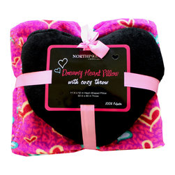 Four Seasons - Pink-Purple Cheetah Print Hearts Throw Blanket Pillow Set - Features: