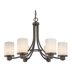 Design Classics Lighting - Modern Chandelier with White Glass in Neuvelle Bronze Finish - 588-220 GL1020C - Contemporary / modern neuvelle bronze 6-light chandelier. Takes (6) 100-watt incandescent A19 bulb(s). Bulb(s) sold separately. UL listed. Dry location rated.