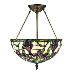 Lite Source - Ceiling Lamp - Antique Brass Finish/Tiffany Shade - Ceiling Lamp - Ant. Brass Finish/Tiffany Shade, Type A 60Wx3