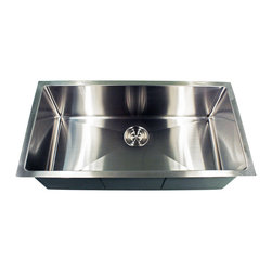 "Nantucket Sinks - Nantucket Sink sr3618-16 - 36"" Pro Series oversized large Rectangle Single Bowl - This undermount Pro Series king size rectangle sink provides Small Radius  corners for additional space and a fresh modern industrial look. The bottom of the sink has channel grooves to divert water for proper drainage."