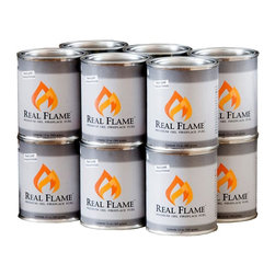 Real Flame - Gel Fuel, 12-Pack - Choose Quantity: Pack of 12A quick and easy substitute for genuine fire, Real Flame's Gel Fuel is ready in a pinch!  Each can produces up to 3,000 BTUs per hour and burns at least 2-1/2 hours.  Just like a fire, but burns cleaner and there's no soot or ash.  Not recommended as heating device. * Made from gelled Isopropyl Alcohol.. Perfect for indoor and outdoor use.. Environmentally friendly and clean burning.. Crackles and pops like a real wood-burning fire.. 3.5 in. W x 3.5 in. D x 4 in. H (13 oz.)Real Flame is the leading brand of gel fuel in the market. Lasting up to three hours, each can creates bright yellow, orange, and red flames that crackle just like a real fire. Best of all, Real Flame gel is an environmentally friendly, clean-burning gel that doesn't leave any messy soot, smoke or ashes behind.