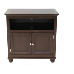 Jeco - 32-inch  Mocha Tv Stand - Simple,functional and beautiful,this mocha TV stand is composed of solid wood,veneers and laminate and sits on solid wood bun feet. Along with an adjustable shelf,the wire management access holes provide easy organization.