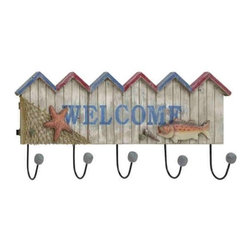 "Wood Metal Welcome Nautical Wall Hook 78729 - Wood Metal Welcome Nautical Wall Hook features wood Welcome sign adorned with fishing net, starfish, and fish and has five metal hooks. 27"" W x 11"" H"