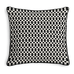 Black Small Geometric Corded Throw Pillow - Black and white photos, Louis XIV chairs, crown molding: classic is always classy. So it is with this long-time decorator's favorite: the Corded Throw Pillow.  We love it in this black & white mazelike lattice.  a little pizazz will go a long way.