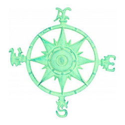 Handcrafted Nautical Decor - Light Blue Cast Iron Rose Compass 12'' - This Light Cast Iron Rose  Compass 12'' is   truly a great gift to any nautical enthusiast. Inspired  by authentic    compasses, this rose compass features a nautical star  in the middle   and  of course the directions North, South, East and  West. Hang this   compass  in your nautical theme home to add a nautical  flair to any wall.--12'Long x 1.5'Wide x 12'High------    Vintage light blue finish gives a rustic appearance--    --    Easily mountable to any room in your home--    Compass is clearly marked North, South, East, West--