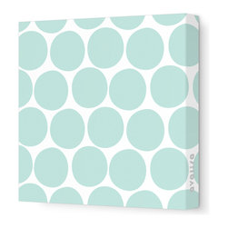 """Avalisa - Pattern - Dots Stretched Wall Art, 28"""" x 28"""", Sea Green - What is it about polka dots? They're just circles, but en masse they make even the worst day a little better. Add some instant cheer to your wall with these dots in eye-popping colors. Each comes in your choice of sizes — or hang several together for some oom-pah-licious fun."""