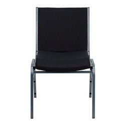 """Flash Furniture - HERCULES Series Heavy Duty, 3'' Thickly Padded, Black Patterned Upholstered Stac - This functional stack chair can be used in a multitude of environments from small to large. The versatility of the chair makes it appropriate to use in the Church, Offices, and Training Rooms or in the Classroom or Home. The thick padded seat and back will keep users comfortable throughout the duration of the day. Not only is this chair comfortable, but it is very durable with its heavy duty frame with bumper guards that will prevent the finish on the frame from being scratched when stacked. So when in need of temporary or permanent seating this multi-purpose stack chair is sure to meet the needs for any venue.; Multi-Purpose Stacking Chair; Stacks 12 Chairs High; Black Patterned Fabric Upholstery; Thick High Density Foam over .625"""" Thick Plywood Seat and Back; Heavy Duty .75"""" Square Tubular Frame; 18-Gauge High Carbon Steel Frame; .625"""" Stretcher Bars in Front and Back provide Extra Support; Silver Vein Powder Coated Frame Finish; Plastic Bumper Guards; Plastic Floor Glides; Meets or Exceeds CA117 Fire Resistance Standards; Limited Lifetime Warranty on Frame; Assembly Required: No; Country of Origin: China; Warranty: 2 Years; Weight: 36 lbs.; Dimensions: 31.25""""H x 19.75""""W x 21""""D"""