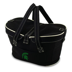 Picnic Time - Michigan State Mercado Picnic Basket in Black - This Mercado Basket combines the fun and romance of a basket with the practicality of a lightweight canvas tote. It's made of polyester with water-resistant PEVA liner and has a fully removable lid for more versatility. Take it to the farmers market, the beach, or use it in the car for long trips. Carry food or sundries to and from home, or pack a lunch for you and your friends or family to share when you reach your destination. The Mercado is the perfect all-around soft-sided, insulated basket cooler to use when you want to transport a lunch or food items and look fashionable doing it.; College Name: Michigan State; Mascot: Spartans; Decoration: Digital Print; Includes: 1 removable canvas lid