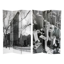 Oriental Furniture - 6 ft. Tall New York City Double Sided Room Divider - Manhattan's Flat Iron Building is an iconic piece of the city's skyline. It is shown here in a dramatic black and white photo, seen through the branches of trees in winter. The reverse side shows the Manhattan skyline with a focus on the Chrysler Building, which is considered by many to be one of the finest buildings in New York City. If cityscapes appeal to you, then use this either as a huge piece of wall art, or as a unique decorative room divider.