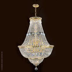 Worldwide Lighting Empire Chandelier W83032G22 - Worldwide Lighting Empire Collection 22 light Gold Finish and Clear Crystal Chandelier