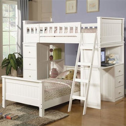White Loft Bed with Desk -