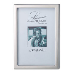 Lawrence Frames - Silver Standard Metal 5x7 Picture Frame - Simple but elegant silver metal picture frame.  A beautiful addition to any room, and the perfect gift for someone special.  This high polished silver metal frame has contemporary gallery frame shape.  High quality black  velvet backing with easel for vertical or horizontal tabletop display, and comes with hangers for vertical or horizontal wall mounting.    Heavy weight metal picture frame is made with exceptional workmanship and comes individually boxed.   In this style the 8x10 size comes with a white acid free bevel mat for a 5x7 photo.