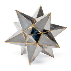 "Kathy Kuo Home - Frattini Industrial Loft Metal Moroccan Star Sculpture - ""Everybody is a star, and everyone should have a decorative metal star from Morocco to add a dash of wonder and delight to their shelves, desktops or other display areas.  This one is particularly gorgeous. Note the contrast welding at the seams, perfectly balancing rough and refined."
