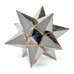 Kathy Kuo Home - Frattini Industrial Loft Metal Moroccan Star Sculpture - Small - Everybody is a star, and everyone should have a decorative metal star from Morocco to add a dash of wonder and delight to their shelves, desktops or other display areas.  This one is particularly gorgeous. Note the contrast welding at the seams, perfectly balancing rough and refined.