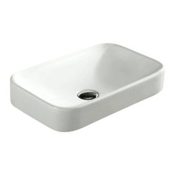 Caracalla - Rectangular White Ceramic Self Rimming Bathroom Sink ...
