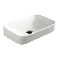 Caracalla - Rectangular White Ceramic Self Rimming Bathroom Sink - Contemporary design, rectangular white ceramic self rimming bathroom sink with no hole.  Sleek self-rimming washbasin comes without overflow. Sink sits approximately 2.75 inches above the counter. Made in Italy by Caracalla. Made out of white ceramic. Contemporary style. Without overflow. Standard drain size of 1.25 inches.