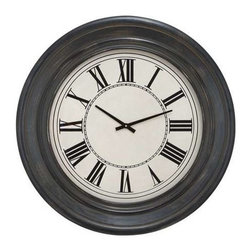 "BZBZ89242 - Wall Clock in Dark Brown Finish and Black Roman Numerals - Wall Clock in Dark Brown Finish and Black Roman Numerals. Lend an instant charisma to the kitchen or dining area with the elegantly designed clock that sports an elaborate detailing. Enhance the decor of your home, and make an instant style update by adorning the walls with this wonderful clock. It comes with the following dimensions 32"" W x 3"" D x 32"" H."