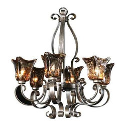 Uttermost - Vetraio Six-Light Chandelier - This heavy hand made glass chandelier is held in a classic European iron works giving these pieces a contemporary quality, with beautiful toffee art glass it gives off a strong traditional appeal as well. Uttermost - 21006