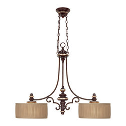"Capital Lighting - Park Place Island Fixture - Park Place Island Fixture.  Champagne Bronze finish with Fabric shades and Frosted Glass diffusers.  Takes two 60W bulbs.  UL Listed.  Rated for Dry locations.  Canopy: 5.7"" round.  Chain Length: 10'  Wire Length: 15'  Fabric Shade: 12"" w x 12"" d x 6""h"