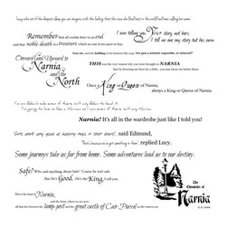 Dana Decals - Chronicles of Narnia Quote Collection Wall Decal - Walk through the wardrobe...or just put the decals on the wardrobe! This collection of quotes from C.S. Lewis' Chronicles of Narnia will add a touch of magic and wonder to any room. Each quote comes a separate piece so you can rearrange and create the perfect scene for your wall!