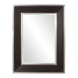 Howard Elliott Jackson Wood Mirror - The Jackson Mirror features a sleek and sophisticated look with an Espresso wood grain veneer frame trimmed with a brushed aluminum border.