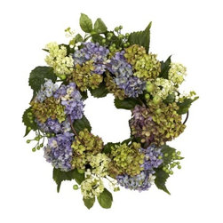 Nearly Natural - 22 Inch Hydrangea Wreath - Hydrangeas come in all manner of colors, and we've captured some of nature s best in this stunning 22 wreath. With several different blooms in all manner of maturity stage and hues, surrounded by an assortment of green leaves and berries, this wreath presents an endless array of oooh, look at that! Makes an ideal year-round wall decoration, and also makes a thoughtful gift.