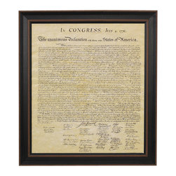 Patriot Gear Company - Framed Declaration of Independence - The United States Declaration of Independence is one of the two greatest documents ever penned by man, the other being the United States Constitution.    Adopted by the Continental Congress on July 4, 1776, the Declaration of Independence announced that the thirteen American colonies, then at war with Great Britain, were now independent states and thus no longer a part of the British Empire. Written primarily by Thomas Jefferson, the Declaration is a formal explanation of why Congress had voted on July 2 to declare independence from Great Britain, more than a year after the outbreak of the American Revolutionary War. The birthday of the United States of America—Independence Day—is celebrated on July 4, the day the wording of the Declaration was approved by Congress.   We proudly offer this framed & matted Declaration of Independence! This exact replica is printed on antique parchment paper, set in a black matte with a distressed black frame made of solid wood and glass front. It will add character to any room... every Patriot's home deserves a framed replica of the Declaration of Independence!