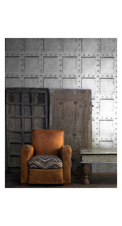 Kathy Kuo Home - Isambard Industrial Iron Panel Wallpaper - Platinum - This inventive wall covering has a trompe l'oeil effect, realistically capturing the look of riveted wrought iron panels. It's the perfect backdrop for your favorite industrial-chic setting.