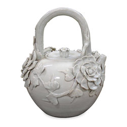 China Furniture and Arts - Porcelain Tea Pot - As if by magic, a vine and roses covered pot transforms into a charming teapot. Completely hand-crafted porcelain from China.