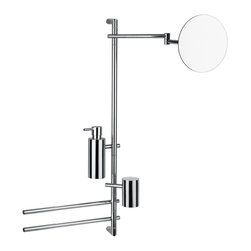 "WS Bath Collections - WS Bath Collections Bloom 2825 Bathroom Accessory Stand - Bloom 2825, 27.2"" x 3.9"" x 30.5"", Bathroom Accessory Stand with Magnifying Mirror, Soap Dispenser, (2) Towel Bars, and Toothbrush Holder in Polished Chrome"
