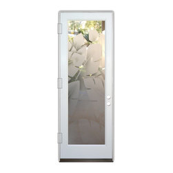 Sans Soucie Art Glass (door frame material Plastpro) - Glass Front Entry Door Sans Soucie Art Glass Banana Leaves 2D - Sans Soucie Art Glass Front Door with Sandblast Etched Glass Design. Get the privacy you need without blocking the light, thru beautiful works of etched glass art by Sans Soucie!  This glass is semi-private.  (Photo is view from outside the home or building.)  Door material will be unfinished, ready for paint or stain.  Bronze Sill, Sweep and Hinges. Available in other sizes, swing directions and door materials.  Dual Pane Tempered Safety Glass.  Cleaning is the same as regular clear glass. Use glass cleaner and a soft cloth.