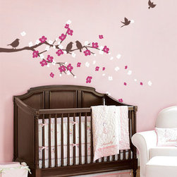 "Cherry Blossom Branch with Birds - Dress up your nursery with our premium Cherry Blossom Branch Decal with Birds.  This wall decal set includes a 60"" wide branch, cherry blossom flowers in two colors and a set of five lively birds."