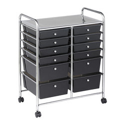 "Ecr4kids - Ecr4Kids Multi-Purpose 12 Deep Drawers Mobile Storage Organizer Smoke Black - Multi-purpose organizer with 4 casters for mobility (2 locking) and colored translucent drawers. Tubular, chrome-plated steel frame and top shelf. Round, chrome plated knob-style drawer pulls. Cart capacity is 50 lbs (23kg). Style Notes:  Choose: Assorted (AS), Smoke (SM) or White (WH). Colors may vary and are subject to change without notice. Age Level: Adult. Assembled Weight: 17.00 lbs. Assembled Dimensions:  24.75""x 15.40""x 31.75""."