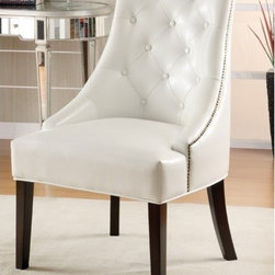 Wildon Home � - Accent Seating Chair - Features: -Tufted back.-Upholstered in White faux leather.-Accent Chair.-Distressed: No.Dimensions: -Seat Depth: 20''.-Overall Dimensions: 38'' H x 27'' W x 25'' D.
