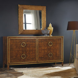 """Modern History - Modern History Home Retro Dresser Burl - Chic and sultry, the Retro Burl dresser shines with mid-century modern style. Golden accents and sleek round pulls highlight is mottled facade offering glamorous appeal. 76""""W x 22""""D x 40""""H; Burl wood; Brass pulls; 6 drawers; Dovetailed joints"""