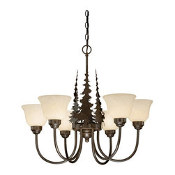 Vaxcel - Yellowstone Indoor Burnished Bronze 25 in. Chandelier - Dimensions: 27.5 in. W x 27.5 in. L x 25 in. H.