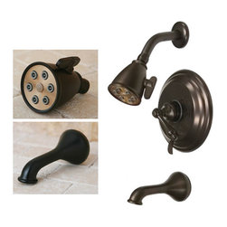 None - Oil-rubbed Bronze Tub and Shower Faucet - Upgrading to luxury tub and shower faucets gives your entire bathroom a new look and feel. This oil-rubbed bronze kit offers an antiqued look of real bronze and an elegant design. All components feature solid brass construction,and single-lever handle.
