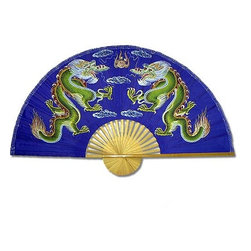 Oriental-Décor - Blue Dragons - With this bold blue fan on your wall, you'll convey a sense of power and vibrancy to your guests. This hand-painted scene of dueling dragons is inspiring on its elegant bamboo frame. Ready for hanging or wafting, this Chinese fan is more than just decoration — it's a revelation.