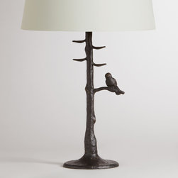 World Market - Woodlands Table Lamp Base - Bring a touch of the outdoors inside with our Woodlands Table Lamp Base. Its aluminum base features a bronze powder-coated finish and realistic texture, not to mention an adorable bird perched on the lowest branch. The perfect size for an end table, console table or nightstand, our affordable Table Lamp Bases coordinate with our wide selection of Table Lamp Shades, so you can create the perfect ensemble to fit your style, space and budget.