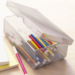 Mesh Pencil Box - Keep pencils, pens, or even beauty supplies tucked away neatly in this cool, industrial metal mesh box. A hinged top makes it that much cooler.