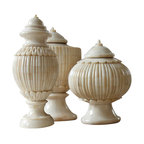 Kathy Kuo Home - Trio Haggis Bone Covered Global Bazaar Ivory Lidded Urns - A triple treat, each of these exotic bone urns features a different hand-carved design. In three different sizes, you can use them as clever catchalls or fill them with oversized blooms for instant impact.